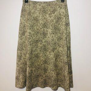 J. Jill olive Green Floral Skirt  A line skirt😍